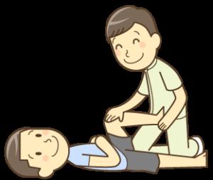 坐骨神経痛の施術を受ける男性のイラスト|入間市しかくら整骨院